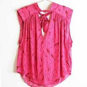 Free People Fuschia Pink Sleeveless Blouse L